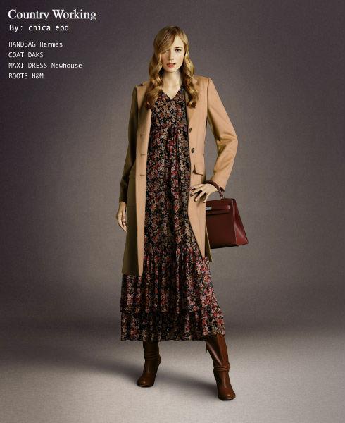 Como llevar un vestido largo en invierno