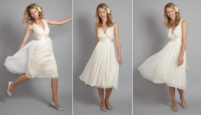 Vestido novia corto color crema