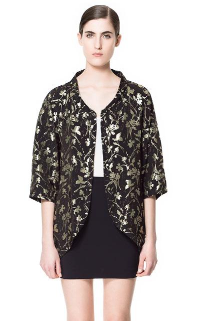 Estampado Chaqueta chaqueta Kimono Azteca Tipo Zara S Rojo qIfqwr