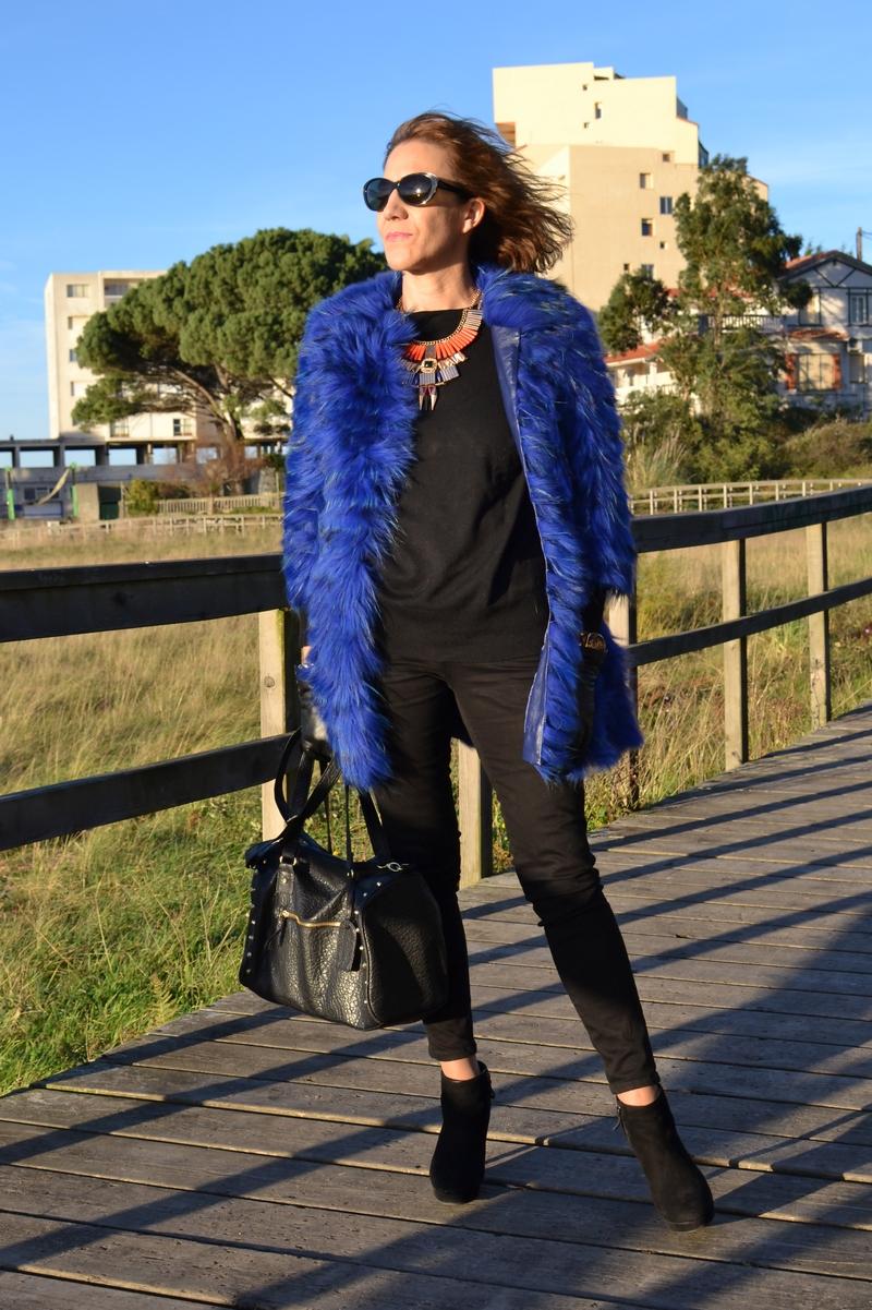 Abrigo piel azul