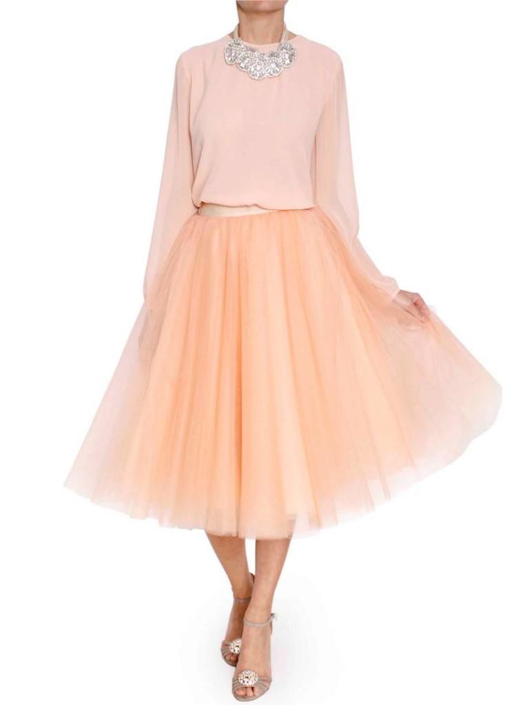 Falda midi de tul color melocotón