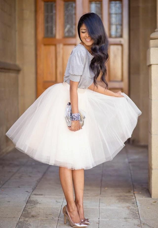 Falda midi de tul blanco