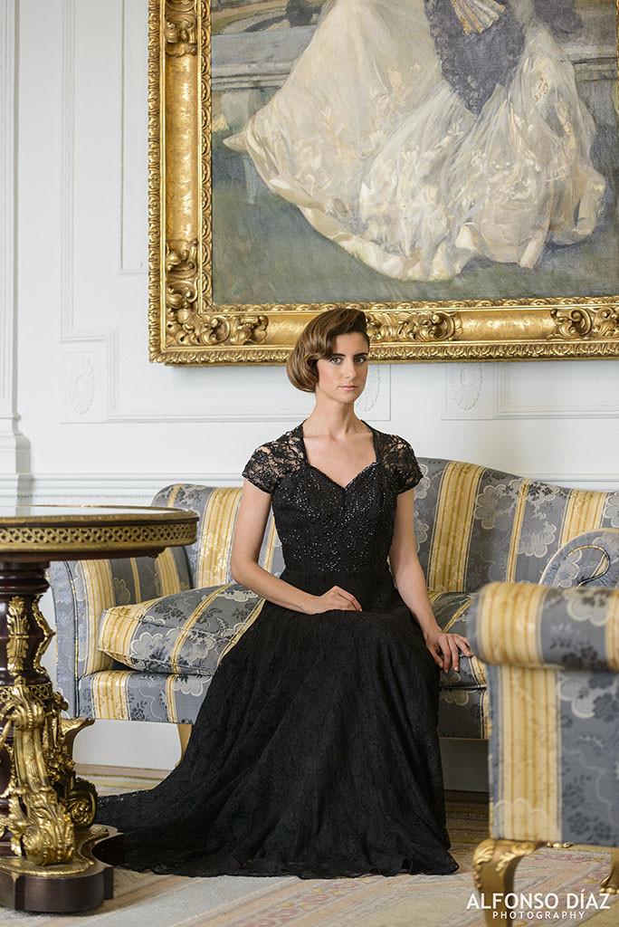 Colección Magdalena Vintage, Vestido de noche de Frank Starr, Fotografía de Alfonso Díaz, Modelo Clara Villegas