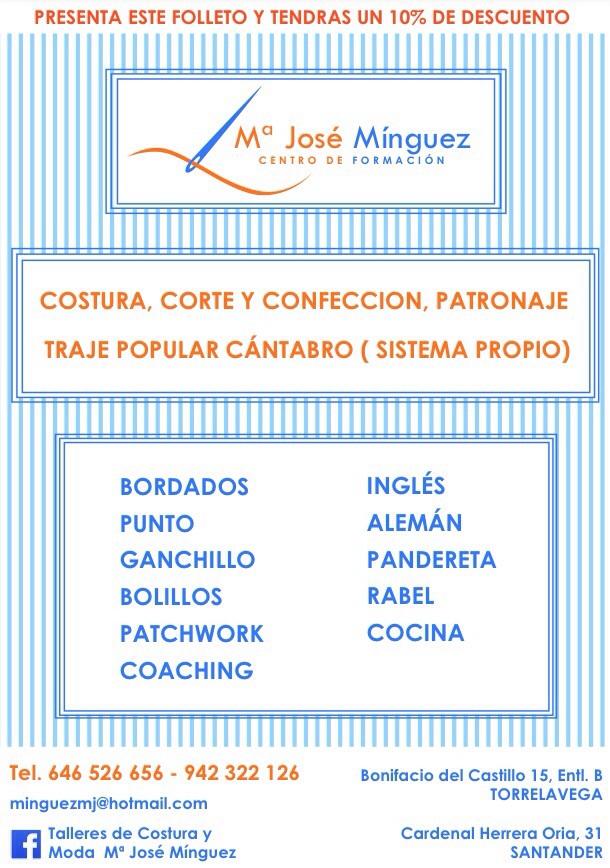 Cartel de la Academia de Corte y Confección de María José Mínguez detrás