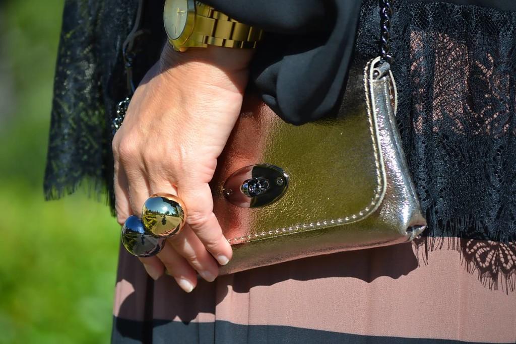 Bolso bandolera y anillos