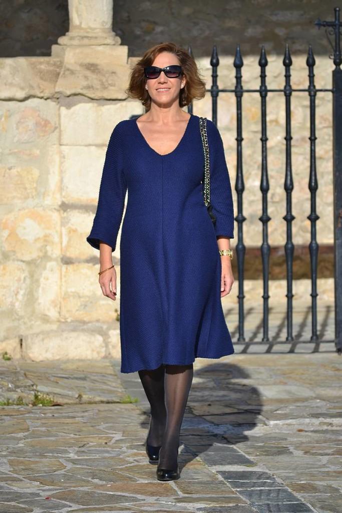 Gema Nájera,, vestido azul