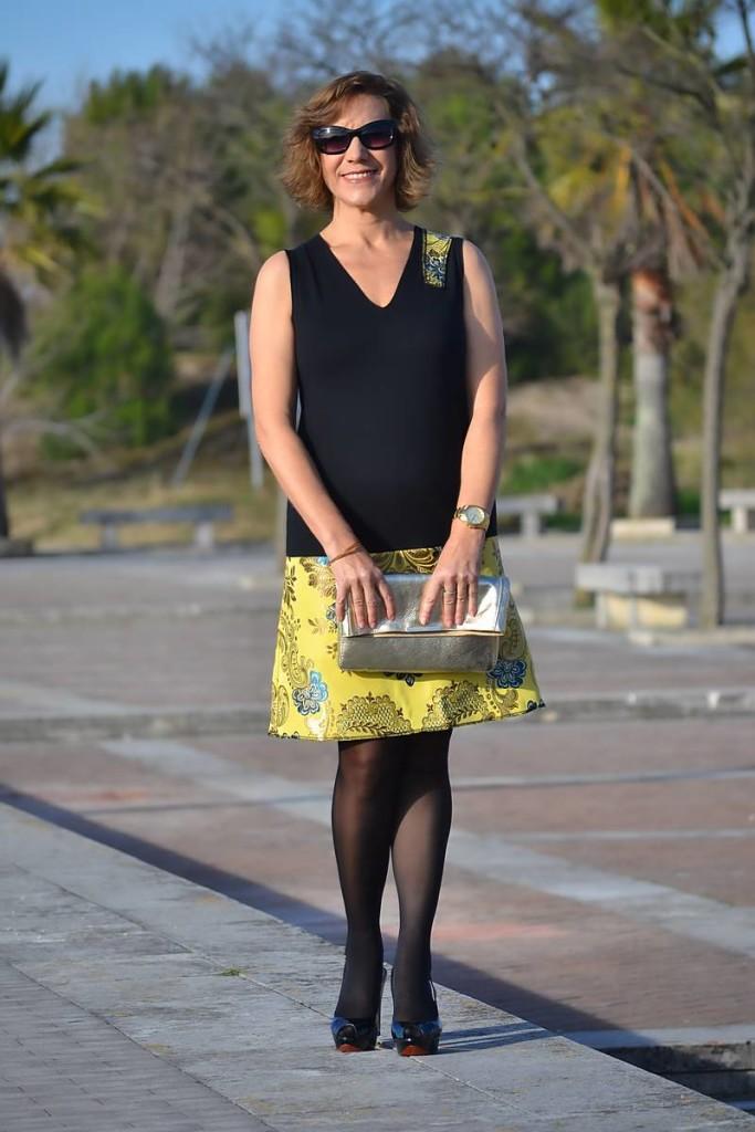 Gema Nájera,, vestido brocado