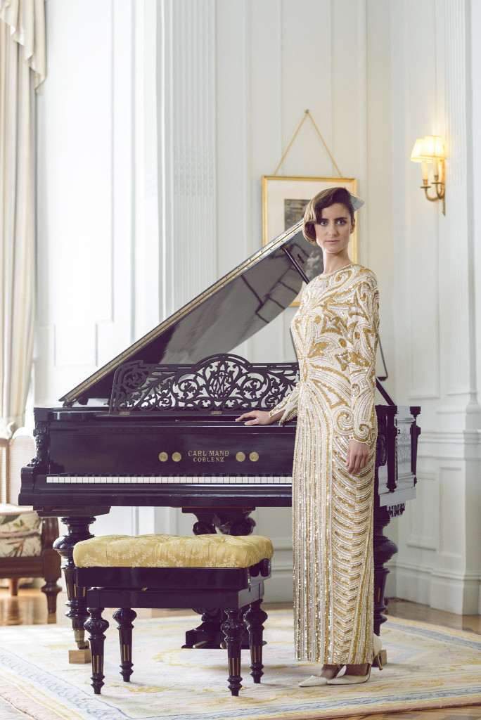 Colección Magdalena Vintage, Alfonso Díaz, Clara Villegas, vestido largo de lentejuelas